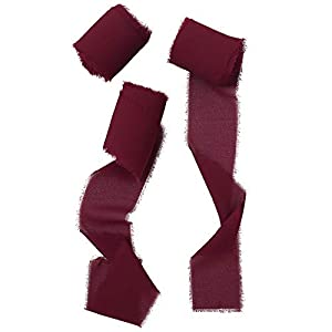 Doris Home Handmade Fringe Chiffon Silk-Like Ribbon 2″ x 7Yd Set of 3 Rolls Burgundy Ribbons for Wedding Invitations, Bouquets, Gift Wrapping