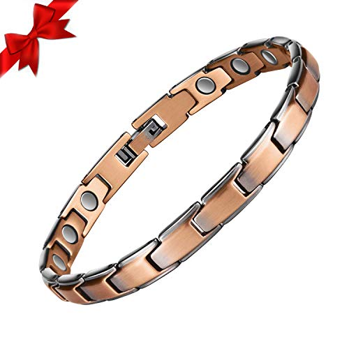 Copper Bracelet for Women, Magnetic Therapy Therapeutic Pain Relief Jewelry Single Row Retro Bracelet with 3500 Gauss Magnets 99.9% Copper Adjustable Bracelets, Best Woman's Gift for Mother & Wife