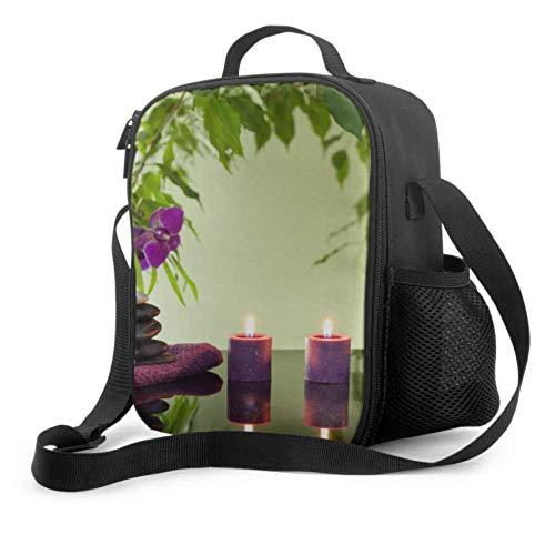 Lawenp Bolsa de almuerzo para hombres, Japón, japonés, Zen, bambú, flor, orquídea, niños, bolsa de almuerzo con asa, correa para el hombro, bolsa refrigeradora reutilizable para hombres, mujeres, tra