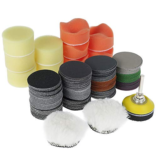 Kit de 195 almohadillas de pulido para coche con esponjas de pulido y discos abrasivos para coche, metal, madera, cristal, grano 60/80/100/150/240/400/800/1200/2000/3000/5000/10000 (195 unidades)