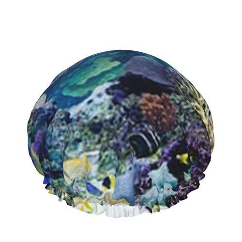 Caribbean Reef Exhibit Tank Mar Coral Reef Baño Gorro de ducha Capas impermeables dobles ajustables Baño