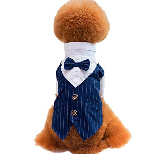 Yuncai Rayas Esmoquin Perro Corbata de Moño Traje Boda Ropa para Mascotas Azúl L