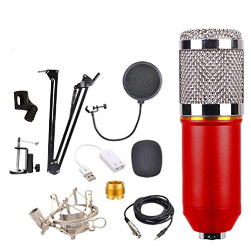 Condenser Microphone Kit for Podcast, YouTube Video, Stream, Recording Music, Voice Over Computer Karaoke Microphone,Red