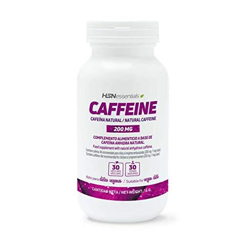 Cafeína Natural de HSN 200 mg | Extracción de Granos de Café Verde, Máxima Energía, Estimulante, Quema Grasas, Antioxidante | Vegano, Sin Gluten, Sin Lactosa, 30 Cápsulas Vegetales