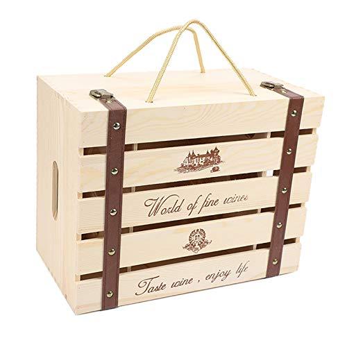 Baoblaze Kreative Holz Wein, Schnaps Flasche Box, Wein Flasche Holz Lagerung Geschenk Box mit Seil Tragen Griff für Geburtstag Party, Hochzeit, Jahrestag