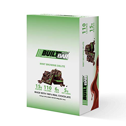 Built Bar 18 Pack Energy and Protein Bars - 100% Real Chocolate - High in Whey Protein and Fiber - Gluten Free, Natural Flavoring, No Preservatives (Mint Brownie Delite)