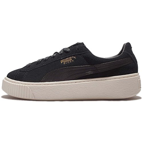 Womens Puma Suede Platform Mono Satin Trainers in Puma Black/Whisper White.
