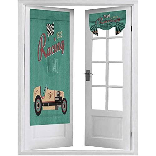 Cortinas de puertas francesas, impresión de póster de una máquina antigua de la nostalgia del automóvil, 1 panel de 66 x 172 cm, bloque de luz, color crema