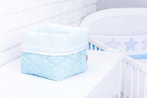 Amilian® Aufbewahrungsbox Körbchen ca. 20 x 20 x 20 cm Stoffbox Organizer Windelspender Korb Pünktchen hellblau