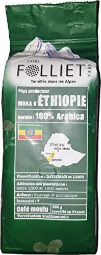 FOLLIET Café Moka 100 % Arabica Moulu 250 g