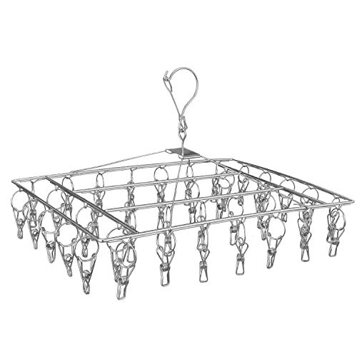 Jauree 2021 Clothes Drying Rack with 40 Clips Stailess Steel Laundry Hanging Rack for Balcony and Courtyard Suitable for Socks Underwears Drying Towels and Baby Clothes