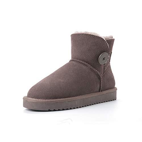Botas De Nieve Para Mujer De Tubo Corto Más Terciopelo Acolchado Antideslizante De Invierno Zapatos De Algodón Para Mujer 3352 botones gris limo 40