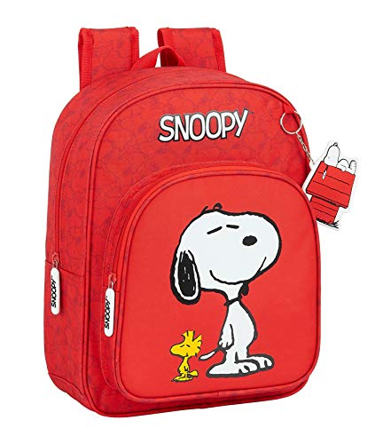 Safta Mochila Escolar Infantil Animada de Snoopy, 260x110x340mm, rojo, m (M185)