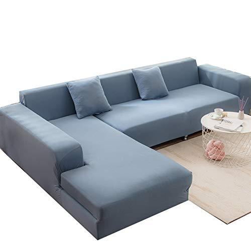 MKMKL Funda de sofá de alta elasticidad, de color puro, para sofá modular, todo incluido, cubierta completa, a prueba de polvo y manchas, funda de sofá, color azul claro, XXL