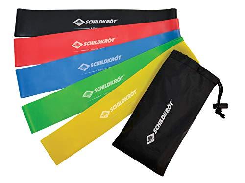 Schildkröt-Fitness Unisex – Volwassenen Mini Resistance Bands, 5-delige weerstandsband verschillende diktes, Fitnessband, gymnastiekbanden set, 5 kleuren, in draagtas, 960126, meerkleurig, One Size