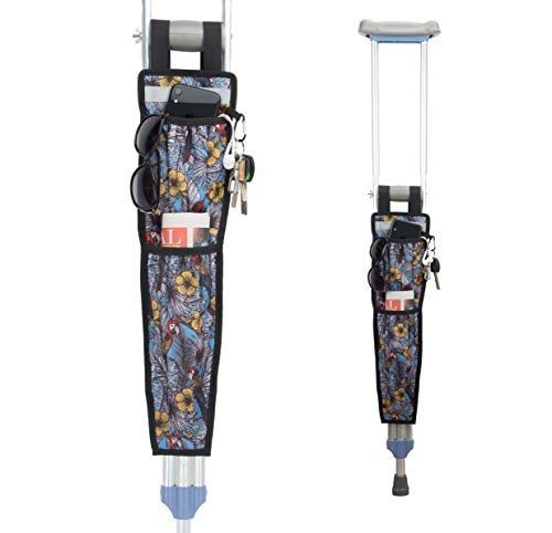 Pacmaxi Crutch Bag Crutch Accessories Storage Pouch with Reflective Strap and Carabiner Hook Universal Crutch Accessories Pouch (Parrot)