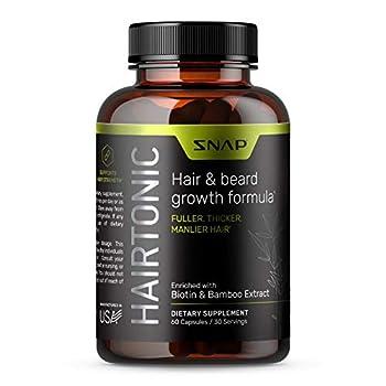 Hair Growth Supplement for Men - Grow Hair Stop Hair Loss & Regrow Hair Beard Growth Skin and Nail Vitamin - Mens Hair Regrowth with Biotin for Men Kelp Bamboo & More  60 Capsules