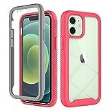 Kompatibel mit Apple iPhone 12 mini Hülle 360 Grad Handyhülle Frontabdeckung mit eingebautem Displayschutz Stoßfest Ganzkörper Transparent Kratzfest Schutzhülle Cover für Apple iPhone 12 mini-3