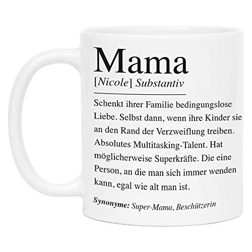 Kiddle-Design Mama Definition Tasse Personalisiert Name Wörterbuch Mutter Geschenk Muttertag Kaffeetasse für Mutti Mütter