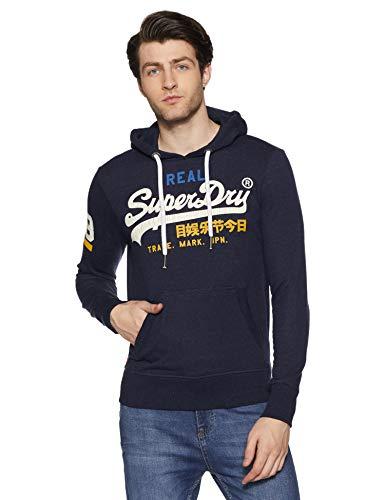Superdry Mens Vintage Logo Lite Tri Hood Jumper Blue Montana Blue Grit Uj1 Large