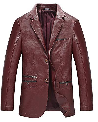 PRIJOUHE Men's Faux Leather Blazer Jacket Casual 2 Button Slim Fit Sport Coat Motorcycle Jacket