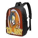 shenguang Mochila para portátil Cartoon-Tom-Jerry con puerto de carga USB para auriculares, mochila para viajes de negocios de gran capacidad, mochila para hombres y mujeres universitarias,