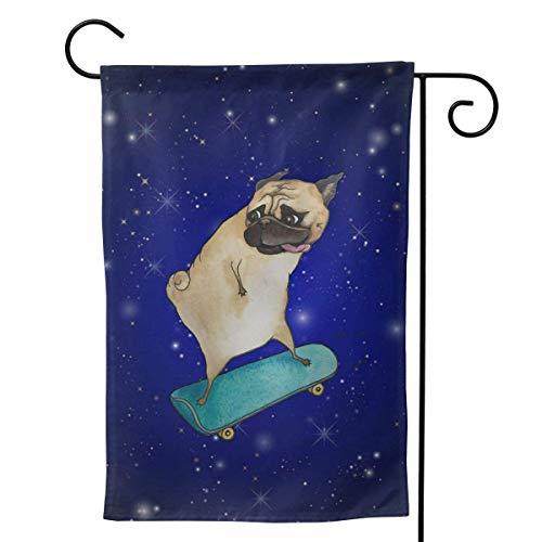 N/A Yard Flags,Haus Banner,Dekorative Fahne,Urlaubsdekoration,Skateboard Hund Premium Qualität Gartenflagge Indoor Use Outdoor Dekoration Alle Jahreszeiten 32X48CM