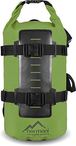 normani Rucksack Wasserdichter Trekking-Rucksack aus LKW-Plane, 40 Liter Farbe Grün
