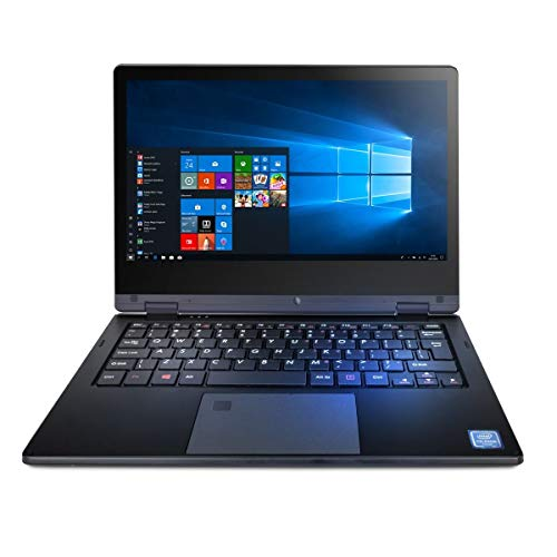 TECHBITE Arc 11.6 HD Notebook mit Touchscreen, Laptop Windows 10 Pro Computer, 11.6 Zoll IPS, Intel 2.6 GHz, 4GB RAM, 64GB eMCP, WLAN, Bluetooth, Black