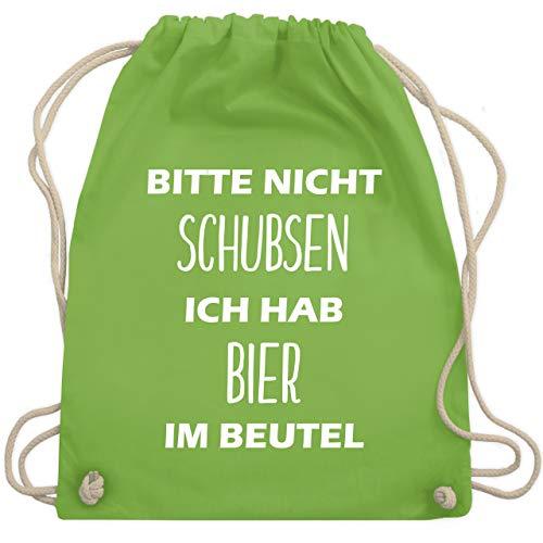 Shirtracer Festival Turnbeutel - Bitte nicht schubsen ich hab Bier im Beutel - Unisize - Hellgrün - rucksack bitte nicht schubsen - WM110 - Turnbeutel und Stoffbeutel aus Baumwolle