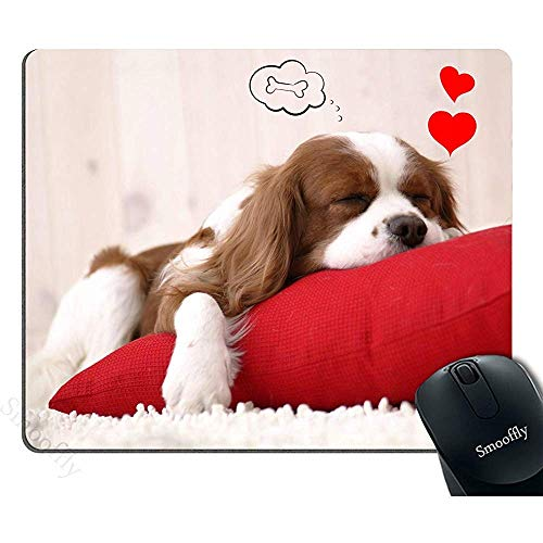 Grappige hond muismat rood, schattig puppy slapen op een kussen dromen van een bot persoonlijkheid Desings Gaming muismat