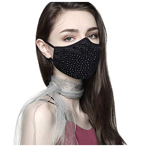 Time COVER Faciales Protectoras Adultos Algodon Reutilizables con Decoración de Cristal, Lavable, Unisex