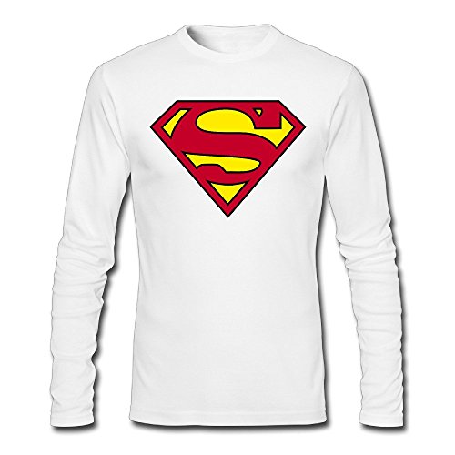 Men Superman Logo Long Sleeve T-Shirt White