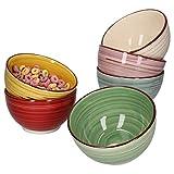 MamboCat 6er Set Schalen Rimini I 600ml I handbemalt I in 6 tollen Farben für Ihr Müsli, Salat, Nüsse, EIS, Chips und andere Knabbereien