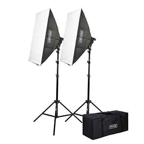 """Fovitec - 2-Light 4200W Fluorescent Lighting Kit for Photo & Video with 24""""x36"""" Softboxes, stands, & Carry Bag"""