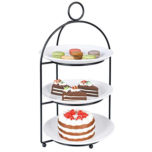Cupcake Stand 3 Tiered Cake Dessert Fruit Cookies Appetizer Display Stand for Dessert Table Tiered Serving Tray Stand with 3 Melamine Plates 9 inch Width