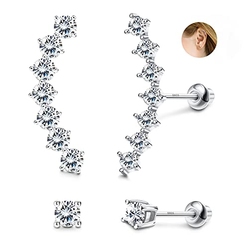 Sllaiss 2 Pairs Sterling Silver CZ Cartilage Stud Earrings Set for Women White Gold Plated Climber Helix Conch Daith Piercing with Screw Back (Silver)