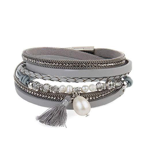 LXDDJsl Pulsera de estilo nacional, de moda multicapa con diamantes de imitación, joyería de nudo femenino, hebilla magnética, pulsera de estilo punk rock motero, pulsera de correa ancha (color: gris)