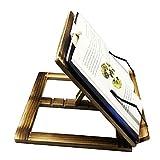PrettyWit - Soporte de madera para libros de lectura, soporte para libros de cocina, soporte para libros, soporte para libros – madera carbonizada con punta de acero