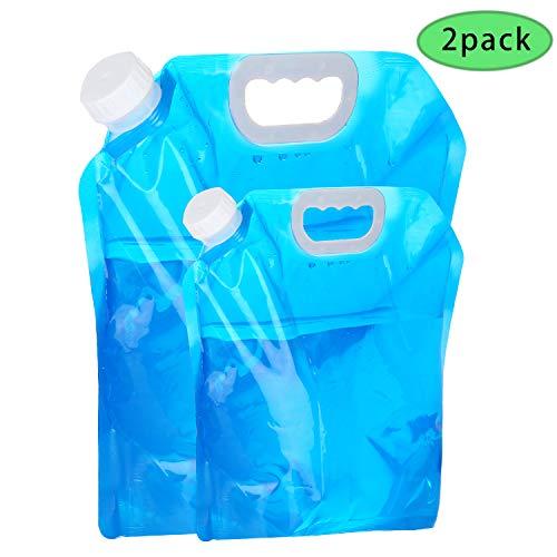 VABNEER Wasserbehälter 5L + 10L zusammenklappbarer Wasserbeutel Tragbarer und Faltbarer Wasserträger Behälter für Camping-Picknick-Grill