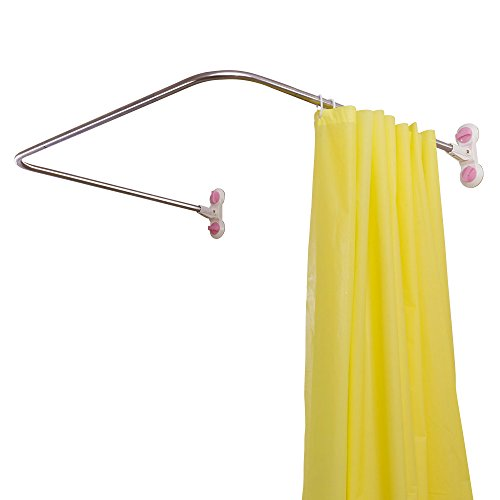 BAOYOUNI Badezimmer U-förmige Duschvorhangstange Ecke Duschvorhang Stange Pole, Dekorativ Geschwungenes Bad Vorhangschiene Bar mit Saugnapf 98 x 102cm