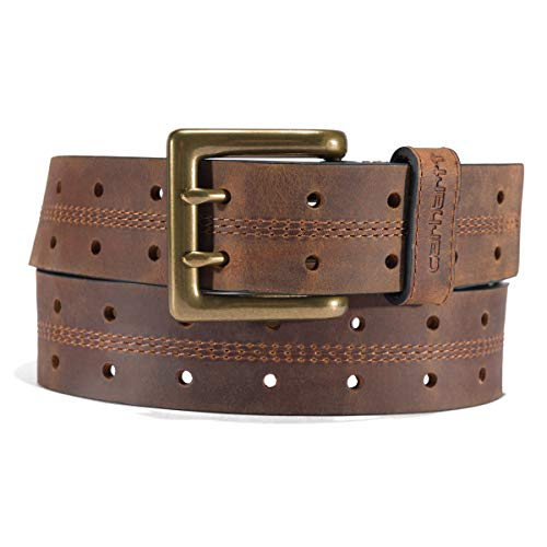 Carhartt Men's Standard Signature Casual, Double Perf Belt (Brown with OEB Finish), 38