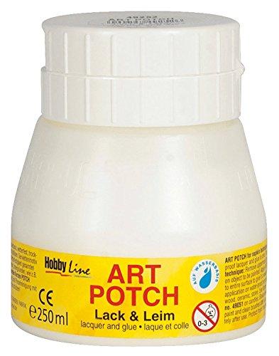 Kreul 49252 - Art Potch Lack und Leim, transparent, 250 ml, Serviettentechnik- und Dekokleber auf Wasserbasis, für Holz, Keramik, Stein und Karton