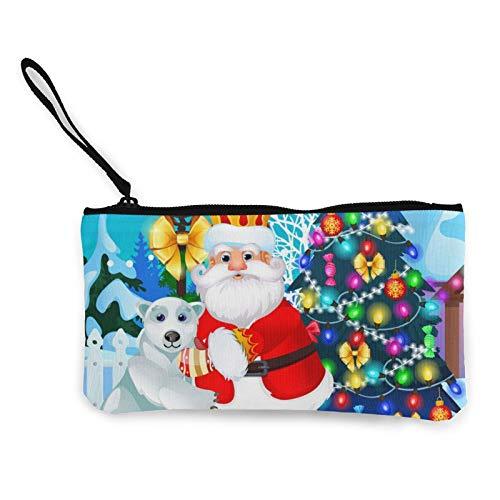 Verzierte Weihnachtsbaum Lamppost Animiert Santa Canvas Bargeld Münzbörse Kosmetiktasche Reißverschluss Kleine Geldbörse Handytasche mit Griff