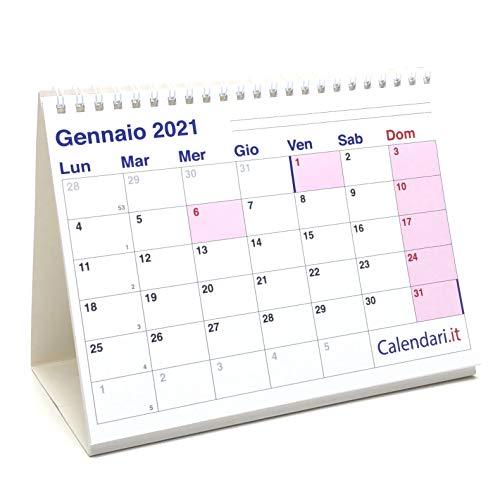 Calendario 2021 da tavolo a caselle cm 20x15 per ufficio casa e lavoro (14 FACCIATE -...