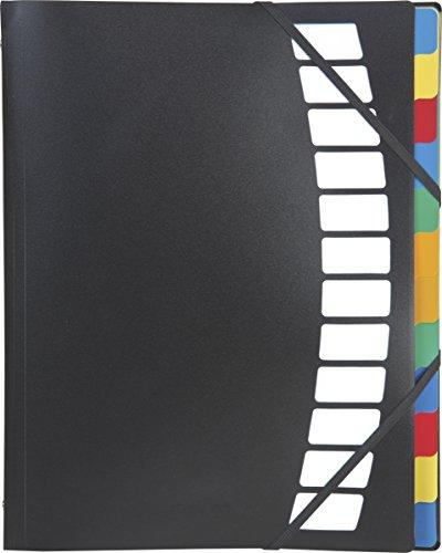 Brunnen 1020253 Fächermappe / Ordnungsmappe (aus transluzenter PP-Folie, A4, 12-teilig, mit Innenregister und Einstecktaschen) schwarz