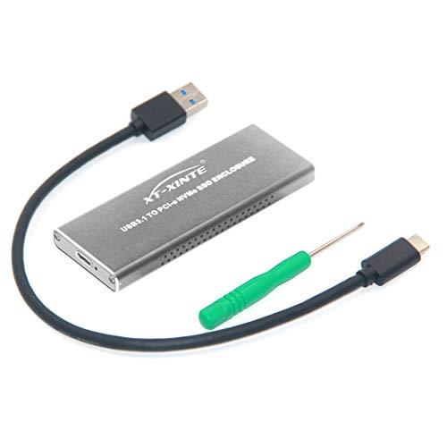 XT-XINTE NVMe USB3.1 HDD-Gehäuse Typ-C zu NVMe M.2 SSD Festplatte Fall Externe Mobilbox (Kabel A bis C, Silber)