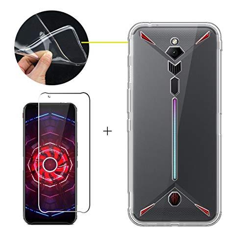 LJSM Hülle für ZTE Nubia Red Magic 3 + Panzerglas Bildschirmschutzfolie Schutzfolie - Transparent Weich Silikon Schutzhülle Crystal Flexibel TPU Tasche Hülle für ZTE Nubia Red Magic 3 (6.65