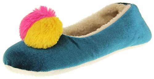Dunlop Donna Pelliccia Sintetica Comfort Caldo Pom Pom Pantofole Teal/Fucsia EU 40-41