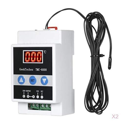 Almencla 2x Temperaturregler + Fühler Sonde Set Temperatur Testen Werkzeug für Schraffuren Gerätechassis Klimaanlagen